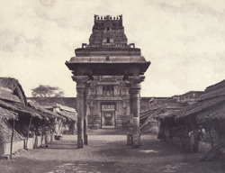 The Great Pagoda at Seringham. A small four pillared Mundapum inside the Second Gopuram. [Ranganatha Temple, Srirangam.]